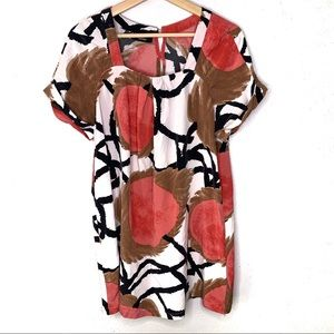 Alfani Printed Tunic Top red Black white brown